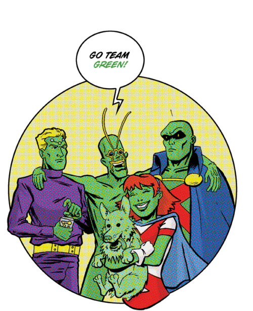 bluedogeyes:   Team Green by Dennis Culver, Braniac 5, Ambush Bug, Martian Manhunter, Changeling, Miss Martian Artist website / deviantart / tumblr