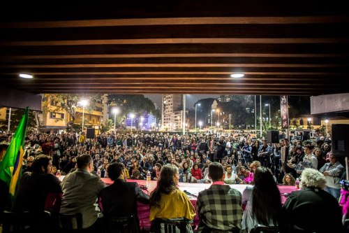 Last night, at Praça Rosa, São Paulo, during the first meeting of the open-to-all Extraordinary Commission on Human Rights and Minorities (Comissão Extraordinaria de Direitos Humanos e Minorias). Led by the trans cartoonist Laerte and congressman Jean Wyllys, the commission sprang up as a reaction to the appointment of Marco Feliciano, a bigoted, homophobic evangelical pastor, as president of Brazil's Congressional Human Rights Commission. 'I'd rather my sexuality were of no consequence. But it is. It's stigmatised. The only way I have of rising above that stigma is to incarnate that identity, but I'd prefer it if I didn't have to.' Jean Wyllys, a member of Brazil's parliament who incredibly, rose to fame by winning Big Brother.  Photo from NINJA Facebook page.