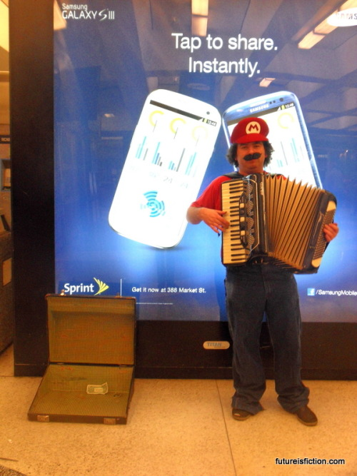 Saw this fellow busking at the Montgomery BART.