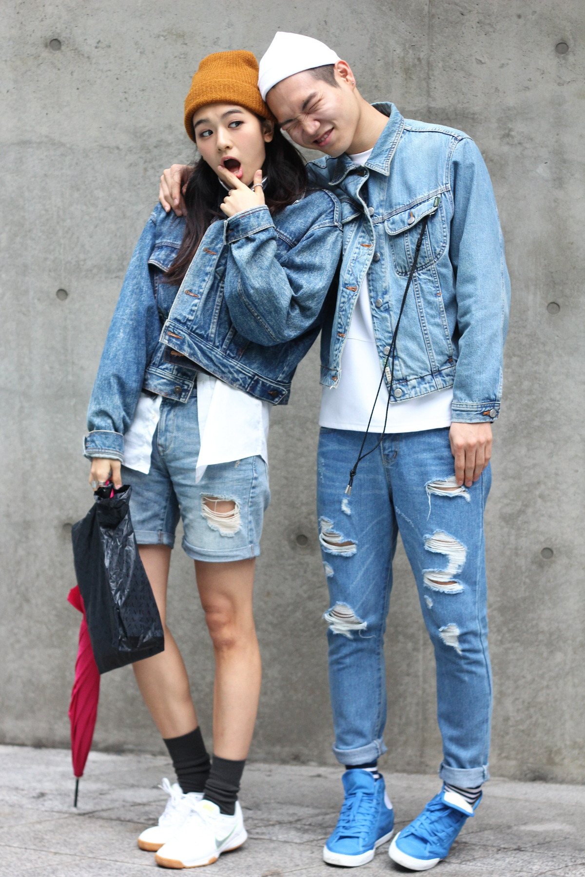 couple look outfit korean style denim on denim model off duty fashion casual