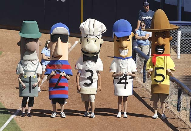 mlboffseason:  Everybody can now relax, Guido the Italian racing sausage has been found. (He's #3, above.) NPR is on it.