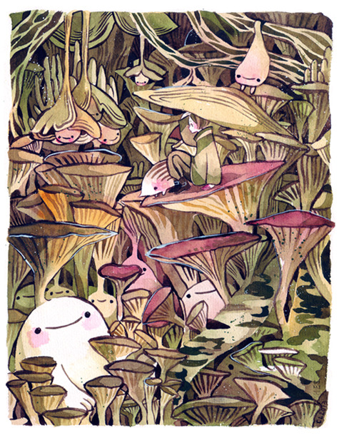maruti-bitamin:  Child and uribo on fungal plateau 3rd new print for AN~