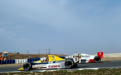 BFF … Thierry Boutsen (Canon Williams-Renault FW12C) thanking Ayrton Senna (Marlboro McLaren-Honda MP4/5) for leaving him the racing line, 1989 Spanish Grand Prix, Jerez de la FronteraBoutsen & Senna became good friends, both on & off the trackThierry was one of the drivers that carried Senna's coffin during his funeral