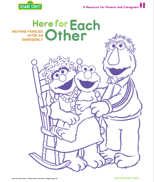 sesamestreet:  Here are some resources to help parents and caregivers speak with children about today's events. (PDF): http://www.sesameworkshop.org/assets/1192/src/HereForEachOther_vEng2012Modified.pdf  Sesame Street as public service.