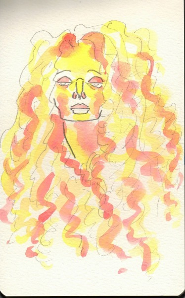 Curly hair woman, watercolor sketch on Moleskine. More from my sketchbooks: http://jojosketchbook.tumblr.com