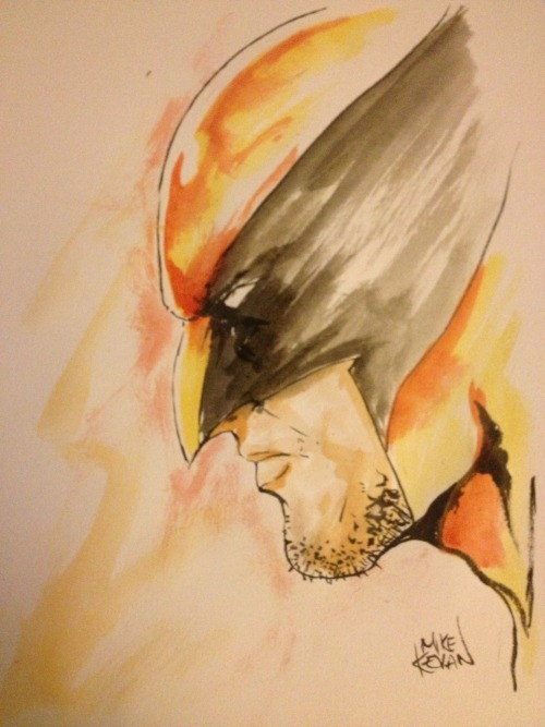curiousintent:  Wolvie watercolour sketch.