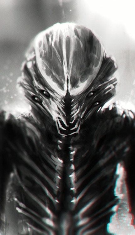 A sketch of an alien creature I did today as a practice, roughly 1 hour in Photoshop. the longer I look at it the more it resembles a child or a young alien species, crazy…