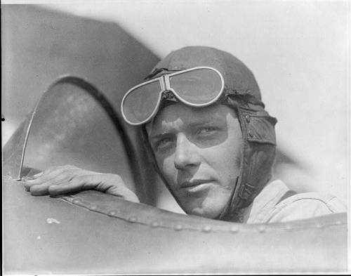 Charles Lindbergh in open cockpit of airplane at Lambert Field, St. Louis, Missouri, 1923 (Library of Congress).