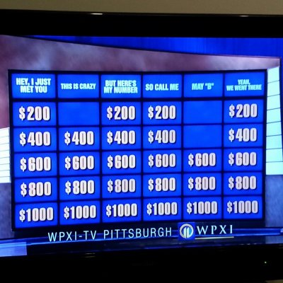 "nprmusic:  cheatsheet:  entertainmentweekly:  world-shaker:  I love Jeopardy.  Wait, why isn't everyone talking about this?  Ha, I thought it was just one category!   I'm a little concerned with the ""Yeah, We Went There"" category. —Lars"