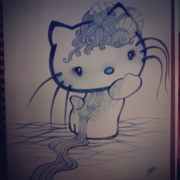 My #sketch of #HelloKitty #colorpencil #blue #water #nautical #seashell #siren #drawing #artistonistagram #art #prismacolor