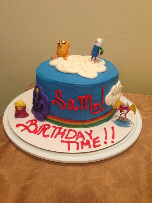 My friend knows nothing about Adventure Time but made this birthday cake for her little sister :3
