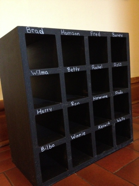 classroomcollective:  This is an awesome mailbox I made for my students. I painted it with blackboard paint so I can continue to change the names throughout the years. I'm pretty happy about it and it only cost me $20 for 2 of these!