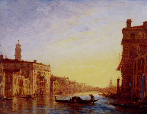 "dawnawakened:  Félix Ziem, Grand Canal (c. 1850)  ""Famous for his Mediterranean skies and a vision of the East reminiscent of The Thousand and One Nights, Félix Ziem (Beaune 1821 – Paris 1911) was a nomadic, unique and eccentric artist. The son of a Polish tailor who migrated to France, he began architecture studies at the Ecole des Beaux-Arts in Dijon before abruptly turning a page on university and his father. His long, prolific career began in the 1840s when he fell in love with the Mediterranean and, later, Venice. An extensive traveller, friend of the Barbizon school of artists, admirer of Claude Lorrain and J. M. W. Turner, Ziem played a unique part in the 19th century art world. He managed to attract a wide range of patrons through works that conjured up dreams of Venice and Constantinople."" - Le Petit Palais"