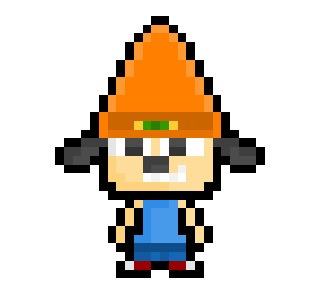 "PaRappa The Rapper, the lyrically masterful beanie wearing canine and eponymous star of Sony's ""PaRappa The Rapper"" series of music games, now derezzed to a moderately small 24 x 30 pixel resolution.  It was a simpler time …"