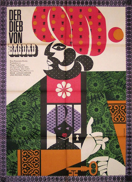 movieposteroftheday:  1965 East German poster for THE THIEF OF BAGDAD (Michael Powell and Ludwig Berger, UK, 1940) Designer: Werner Gottsmann (1924-2004) [see also] Poster source: Kinoart