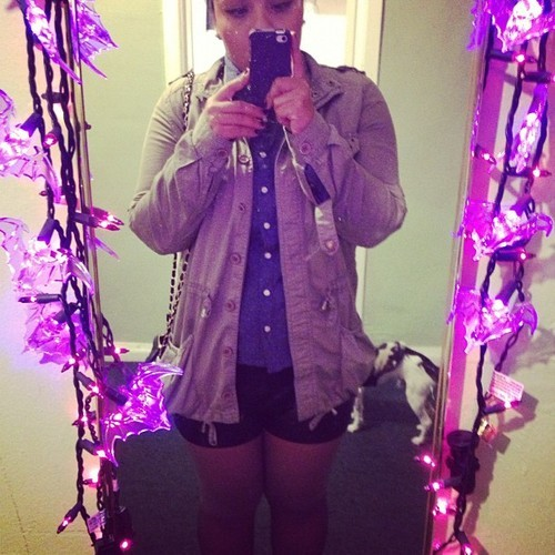 OOTN: leather shorts, chambray, utility jacket and ombré tights that are now ruined because I'm an asshole.