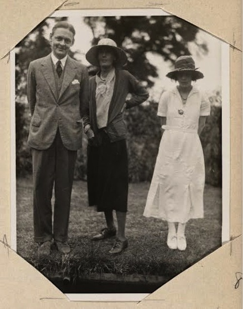 T.S. Eliot, Virginia Woolf and Vivienne Haigh Eliot at Woolf's house, 1932. From Monk's House album.