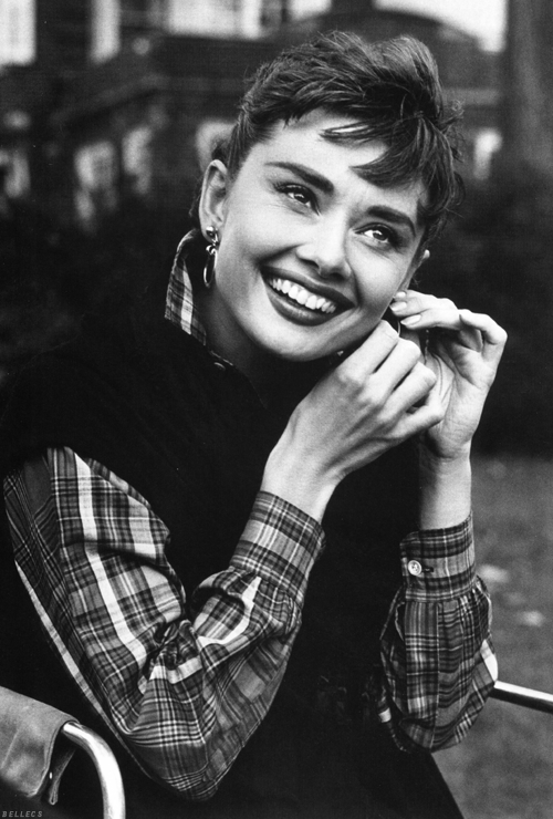 1954: Audrey on the set of Sabrina.