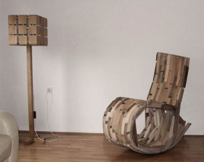 The O2 rocking chair by Hrvoje Vulama is made from leftover pieces of discarded wood from earlier works.  More: O2 Rocker by Hrvoje Vulama - Design Milk