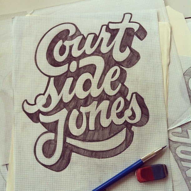 gedpalmer:  Courtside Jones Sketch #lettering #sketch #script #ligature This little fella never made the cut