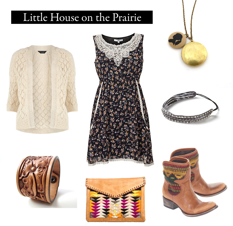 "Outfit inspired by Laura Ingall Wilder's ""Little House on the Prairie."" ""Laura felt a warmth inside her. It was very small, but it was strong. It was steady, like a tiny light in the dark, and it burned very low but no winds would make it flicker because it would not give up."" Navy Floral Crochet Prairie Dress 