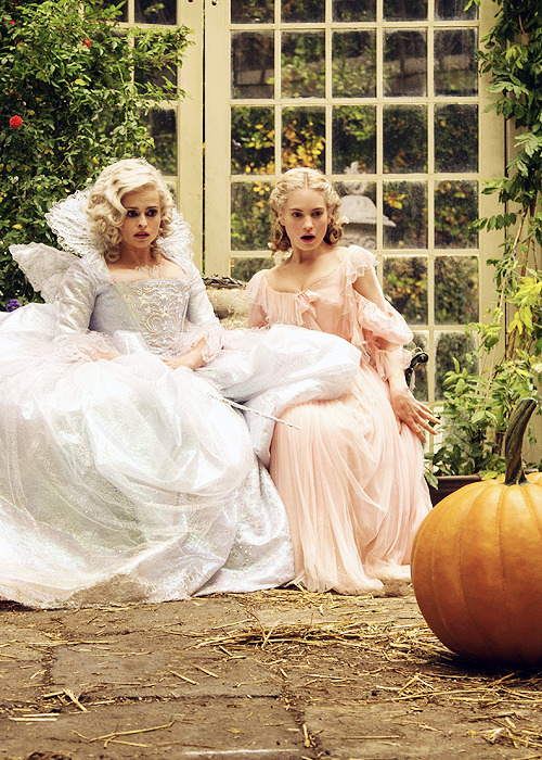 hbc helena bonham carter cinderella pumpkin fairy godmother lily james ella