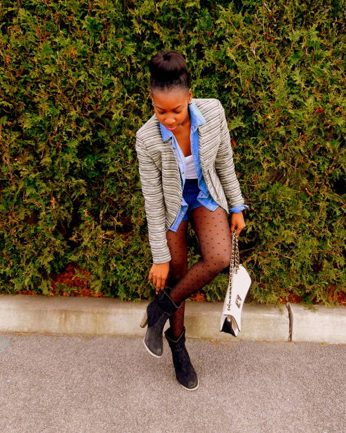 blackfashion:  Top Layers: Basic Cami: Forever 21/ Denim Shirt: Forever 21/ Tweed Jacket: Target Bottom Layers: Denim High Waist Shorts: Forever 21/ Polkadot Tights: Payless Shoes: Forever 21 Purse: New Look