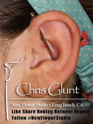 Chris Glunt did this Helix-to-Conch Industrial at New Flower Studio in Long Beach.