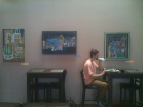 Here is me having lunch @losgorditosperla where my art is hanging right now. Just eating tacos and reading free comics I got from Floating World Comics for free comic book day.