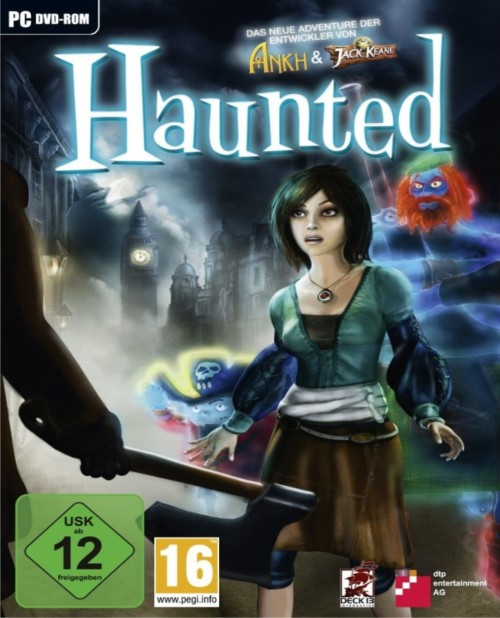 Haunted I first saw this cover as a thumbnail and was immediately drawn to the image of the girl. Upon seeing the full version, I was disappointed that she wasn't a terrible looking smudge like in the mini version. I was, however, ecstatic to see her puffy shirt-sleeves and pirate/Scottish ghost pair behind her that look like they're straight out of some kid's cartoon.