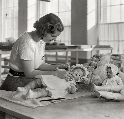 "(via The Doll Dresser: 1936 [detail] | Shorpy Historical Photo Archive)  1936. ""Mt. Holyoke, Mass. - Paragon Rubber Co. and American Character Doll. Dressing and packing dolls."" Photo by Lewis Wickes Hine. View full size."