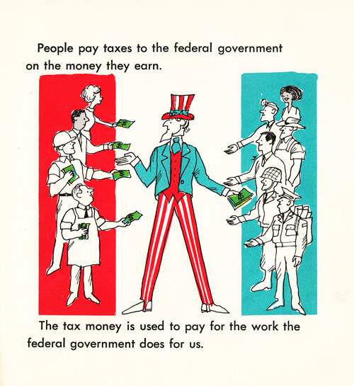 markcoatney:  explore-blog:  How our government helps us, in vibrant vintage illustrations from 1969  Or, as Boehner calls it, stealing from Americans.  The thing about this illo, though, is it does kind of portray taxation as confiscation, because it doesn't show the real, actual work Americans get in return for this money.
