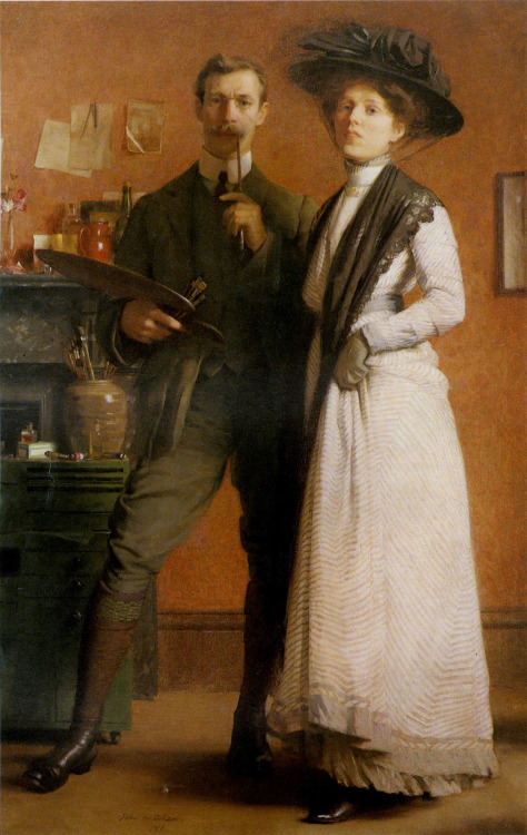 stelle-e-stalle:  John MacDonald Aiken Portrait of the Artist and his Wife (1910) oil on canvas