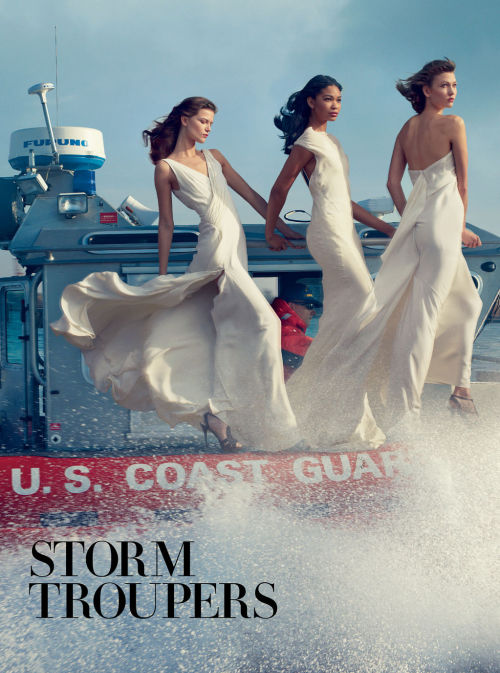 "Kalrie kloss in VOGUE US FEBRUARY 2013 ""Storm Troupers"" by Annie Leibovitz"