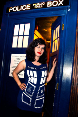 petrichorandrose:  Me in a TARDIS dress in front of the TARDIS at the Doctor Who bar in Brooklyn! You can just call me Sexy.