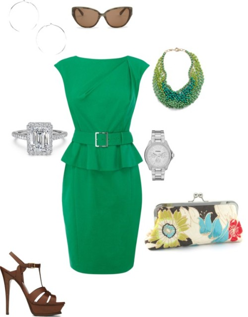 Green by janeamcdonald featuring green handbagsKaren Millen shift dress, $245 / Yves Saint Laurent platform sandals / Green handbag / FOSSIL travel watch / And Mary collar necklace / Wallis silver earrings / C. Wonder c wonder