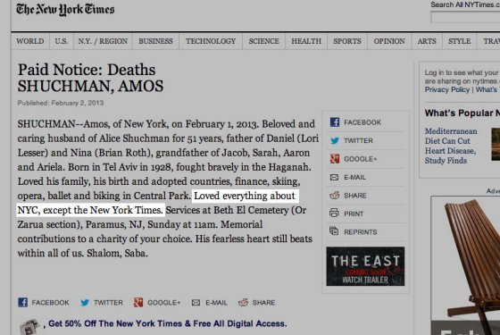 inothernews:  The New Yorker New York magazine brings us the obit printed in the New York Times that dissed the New York Times.