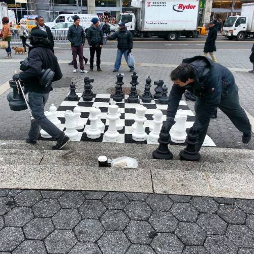 This guy's #chess set is #bigger than yours! #UnionSquare #Manhattan #NYC #Random #Strange #Cool #Awesome #InstaCool #InstagramOfTheDay  (at Union Square Park)