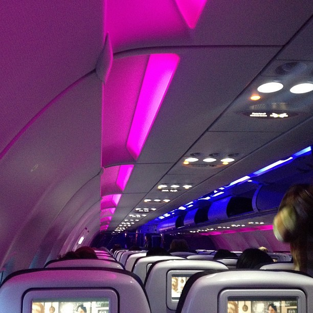 Early morning flight, it's like a party #nerdbird #virginamerica #sanjose