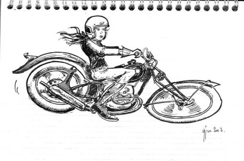Girder fork motorcycle girl illustration. (Source Arbres à cames et poils de martre) [ more motorcycle art ]