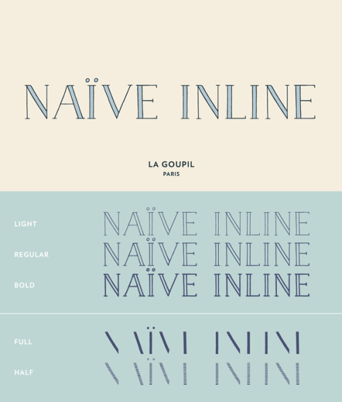 Naïve Inline - Hand Drawn Typeface Naïve Inline is a handwritten serif font designed by Fanny Coulez for the font foundry 'La Goupil Paris'. The typeface has a nostalgic and classic parisian typography with a hand drawn appearance. Naïve Inline consists of three weights which can be enhanced with a bicolor interior (ribbed or full). Naïve Inline looks great in any natural design, headlines or texts. Buy the Naïve Inline font on MyFonts.com More recommended fonts on WE AND THE COLORWATC//Facebook//Twitter//Google+//Pinterest