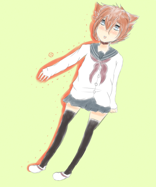 Tenma wearing a sailor seifuku~ (ノ´ヮ´)ノ*:・゚✧