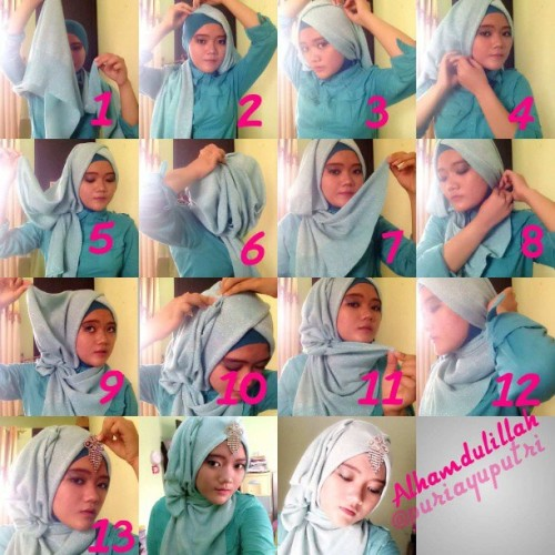 Hijab tutorial glitter shawl for party #hijab #hijabtutorial #glittershawl