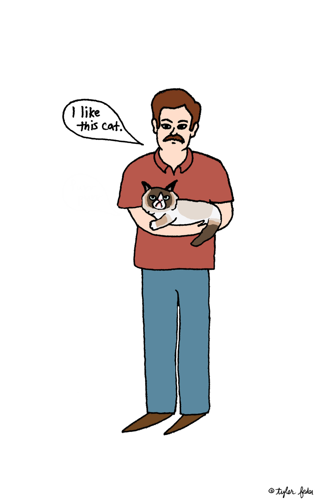 Ron Swanson and Grumpy Cat, as requested by meowyourenthusiasm! (by Tyler Feder)
