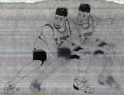 playing with scanning transparency paper of my Iman Shumpert drawing.
