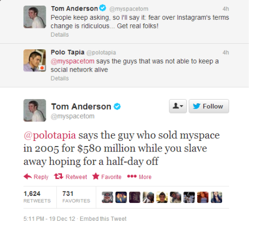 digg:  dailydot:  Myspace Tom gives a Twitter follower $580M worth of haterade  There is no other photo of Tom on the internet, right?  Tom isn't really that guy's friend.