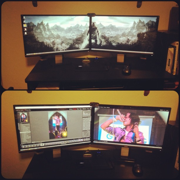 "So this happened today. Went out and upgraded to dual 23"" HD IPS monitors. #dualmonitors #IPS #HD #epic"