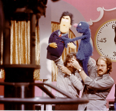 Jim Henson and Frank Oz on the set of Sesame Street, created by Joan Ganz Cooney,
