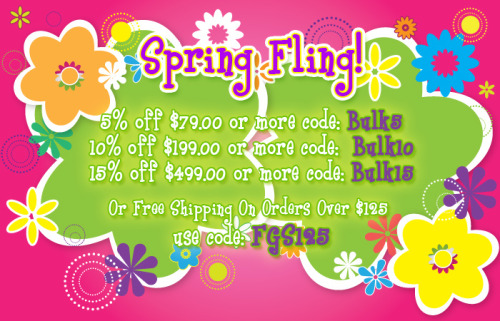 LTF Spring Fling! Take up to 15% OFF your entire order or get free shipping on any order over $125! Head over to http://bit.ly/Y84wJm and start your shopping pleasure!
