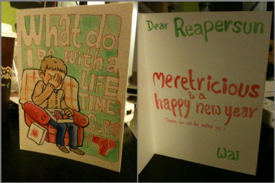 reapersun:  the brilliant amazing belugachop sent me this card over the holidays it's so perf i stared at it for like twenty minutes just grinning like a butt thank you waiiiii ;w;